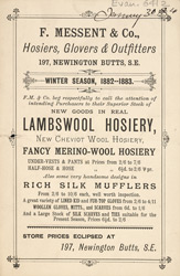 Advert For F. Messent & Co. Hosiers, Glovers & Outfitters